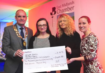East Midlands Chamber Charitable Fund cheque presentation